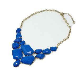 Acrylic Faceted Statement Necklace Cabochon Blue